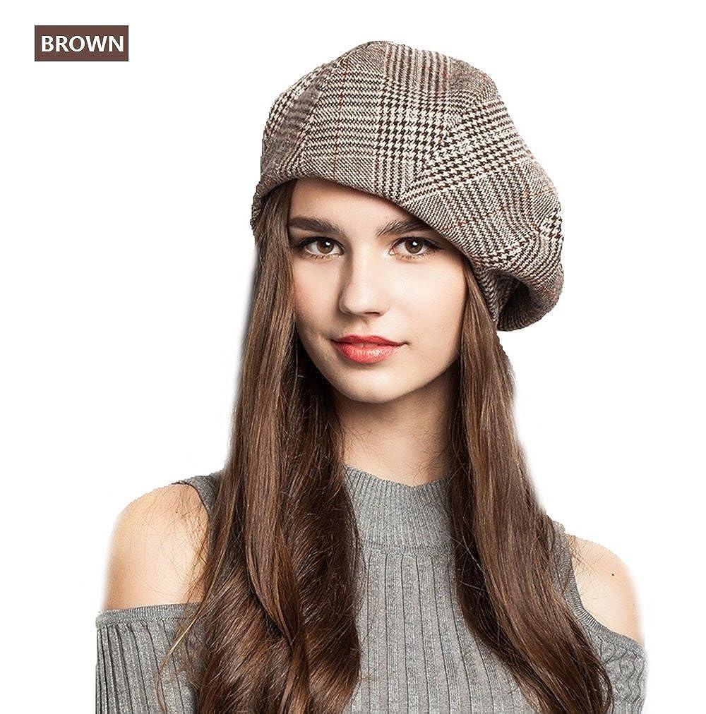 EINSKEY Lady French Beret Wool Beret Cap Chic Winter Newsboy Hat Grid Striped Slouchy Beanie for Women Newsboy cap