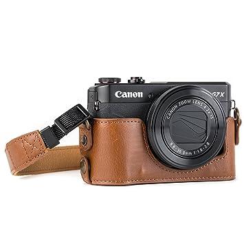 MegaGear Para Canon PowerShot G7 X Mark II Estuche Ever Ready, Media Funda, Estuche de Base, Funda de Cuero, de Pronto Uso, con Correa