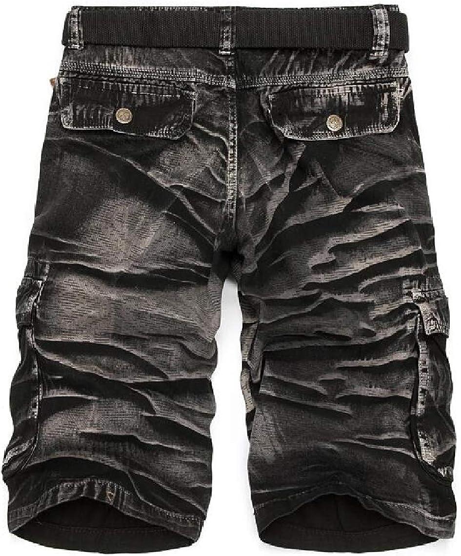 Mens Summer Large Size Cotton Camouflage Loose Multi Pockets Cargo Shorts