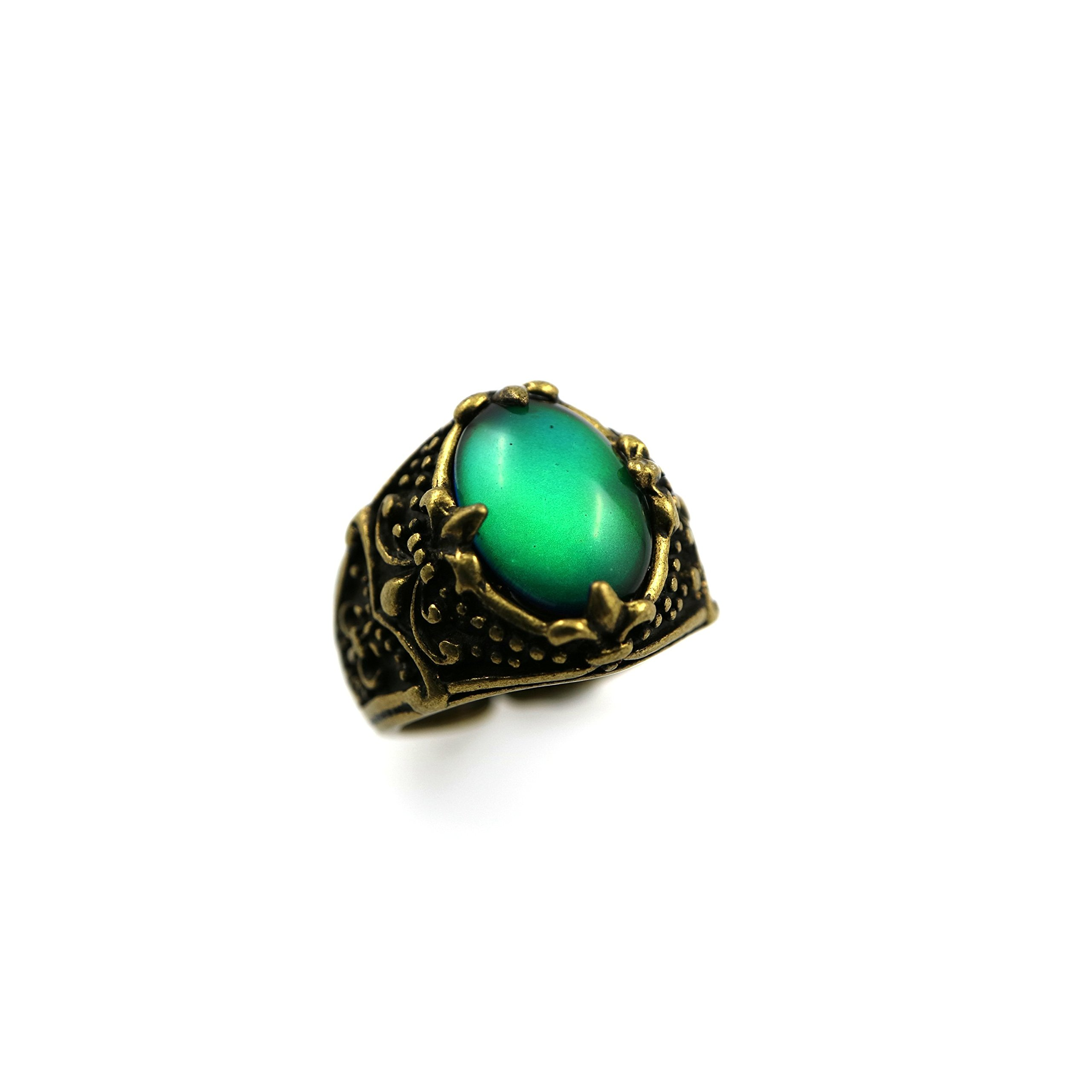 Ms.Iconic Vintage Style Oval Cabochon Fleur De Lis Color Change Mood Ring Adjustable Emotion Ring (Bronze)