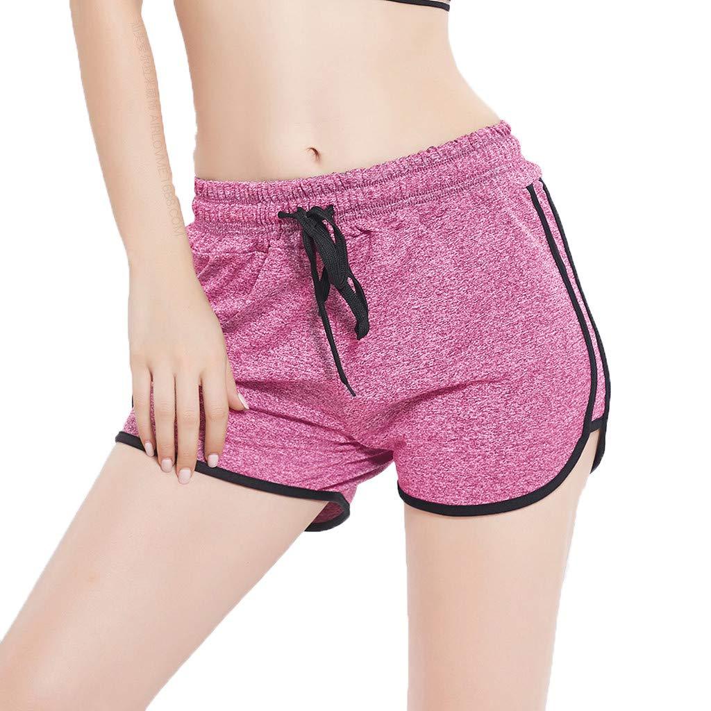 Sunyastor Women's Summer Dolphin Running Workout Shorts Stripe Fitness Fast-Drying Fitness Short Pant Cotton Shorts Pink