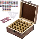 Rustic Essential Oil Wooden Storage Box - with 25 Slots for 5, 10, 15ml Bottles, Rollers & Droppers, Essential Oils Wooden Case Perfect for Display & Presentation - Includes Oils Label, Bottle Opener