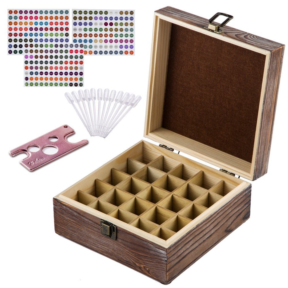 HABOM Rustic Essential Oil Wooden Storage Box - with 25 Slots for 5, 10, 15ml Bottles, Essential Oils Wooden Case Perfect for Display & Presentation - Includes Oils Label, Bottle Opener