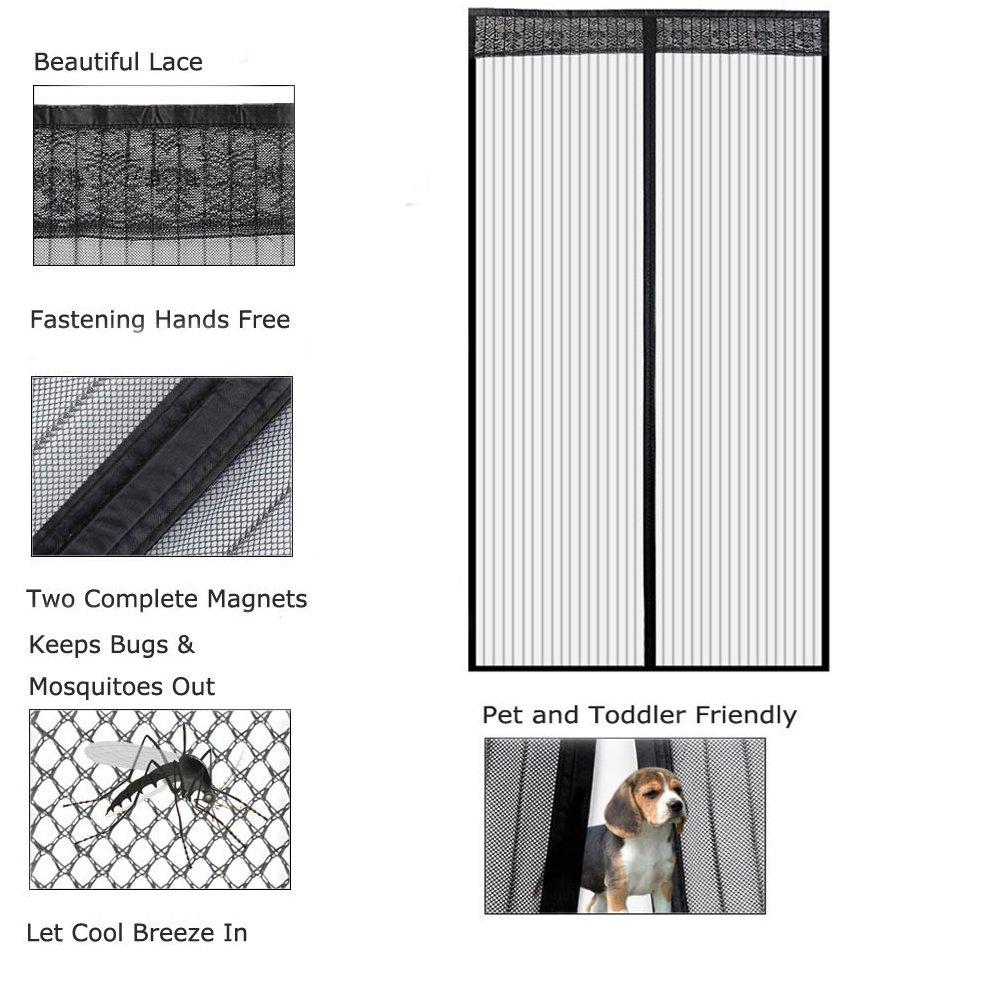 Icegrey Moustiquaire Porte Magn/étique Moustiquaire Sur Mesure de Porte Rideau de Porte Antimoustique Pour Couloirs Portes Patio Noir 140x220cm