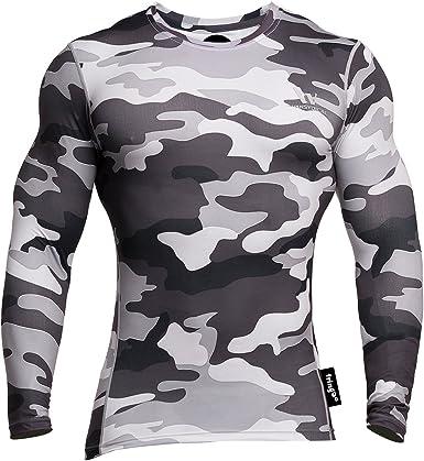 Fringoo - Camiseta térmica de compresión para entrenamiento y fitness, para hombre, con manga larga y cuello redondo, ajustada