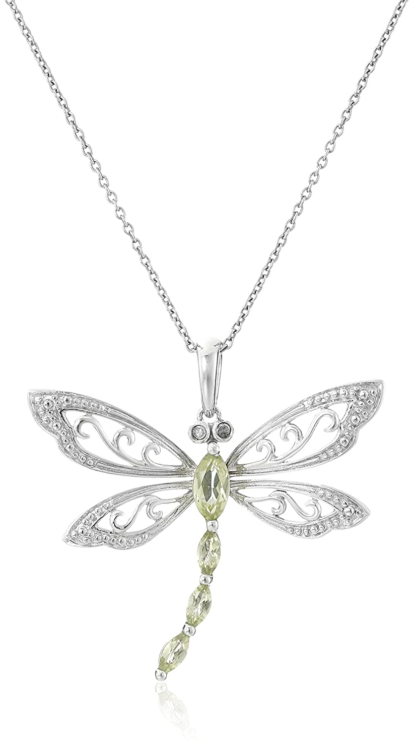 Sterling Silver Marquise Shaped Gemstone and Diamond Dragonfly Pendant Necklace (0.01 cttw, I-J Color, I1-I2 Clarity), 18 I2-I3 Clarity) 18 Amazon Collection VP4583V8T1SJ1