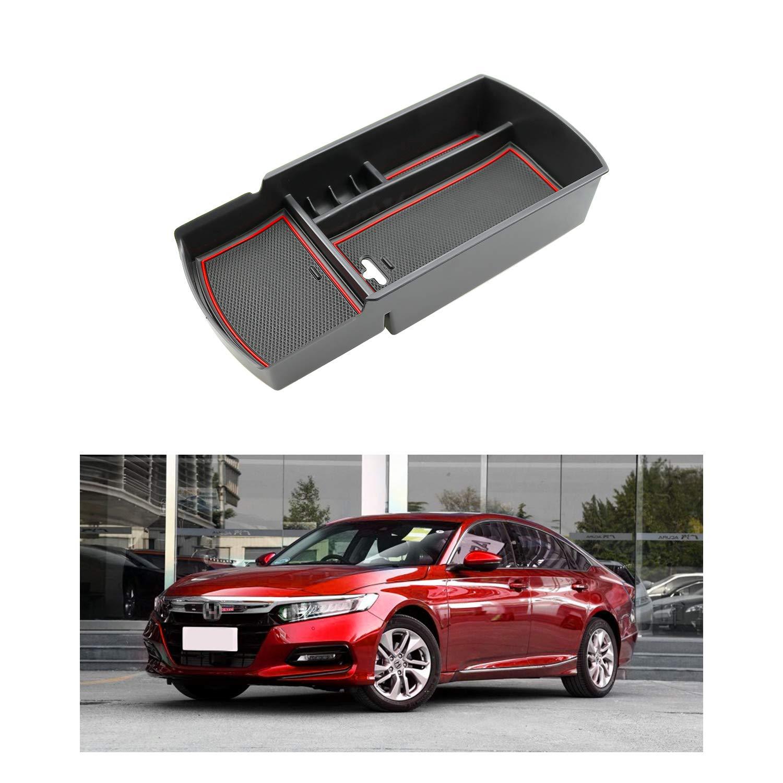 R RUIYA 2018 Honda Accord Car Accessory Center Console Organizer Tray Armrest Storage Box Compatible LX Sport EX EX-L Touring EX-L (Red)
