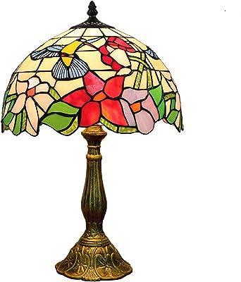 Hobaca 12 Tiffany Lampade Da Tavolo Salotto Vintage Splendidi Fiori Di Vetro Macchiato Metallo Base Lampada Da Comodino Eleganti Decorato Camera Da Letto Amazon It Illuminazione