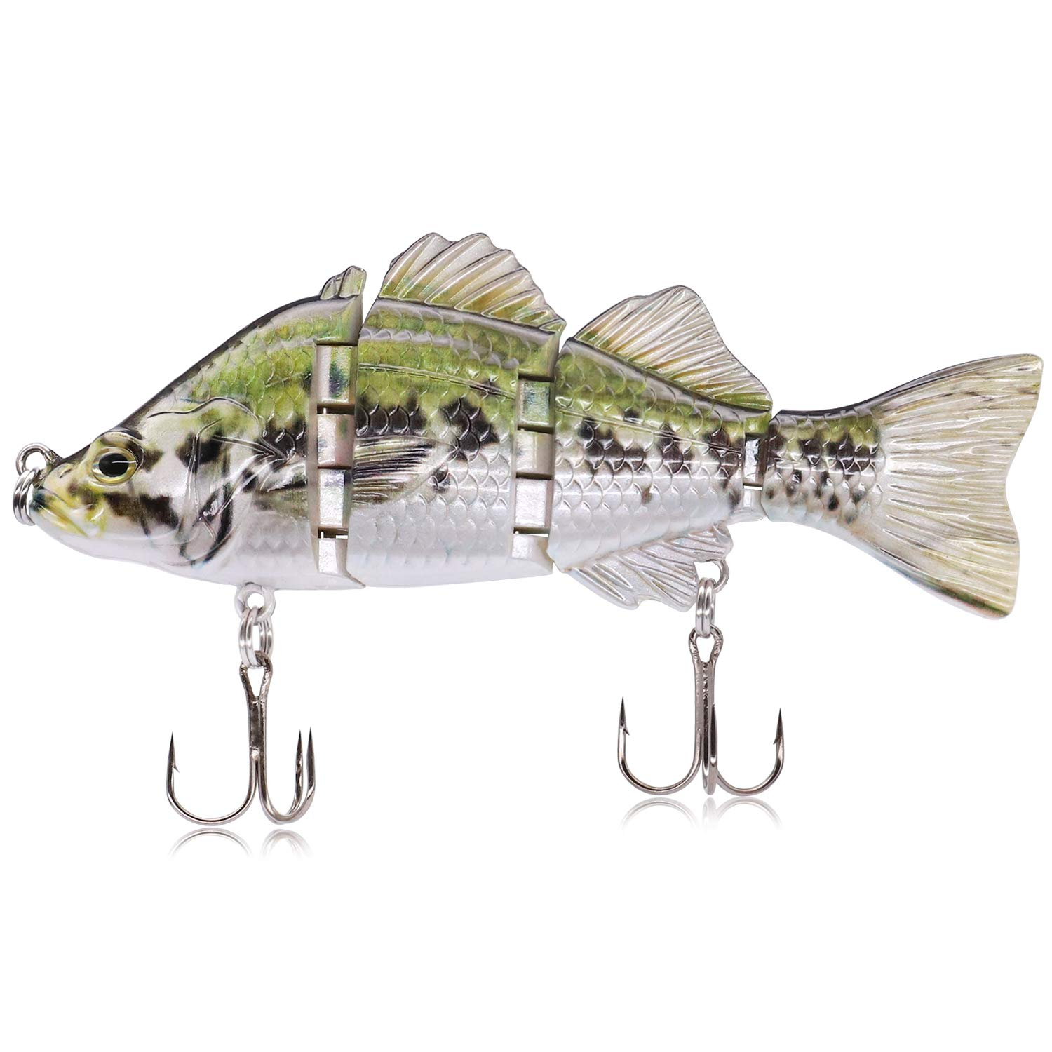 TRUSCEND Fishing Lures Swimbait Bass, 10cm 3.93'' Fishing Lures Crankbait Jointed Trout Swimbait Mustad Hooks (J4A02)