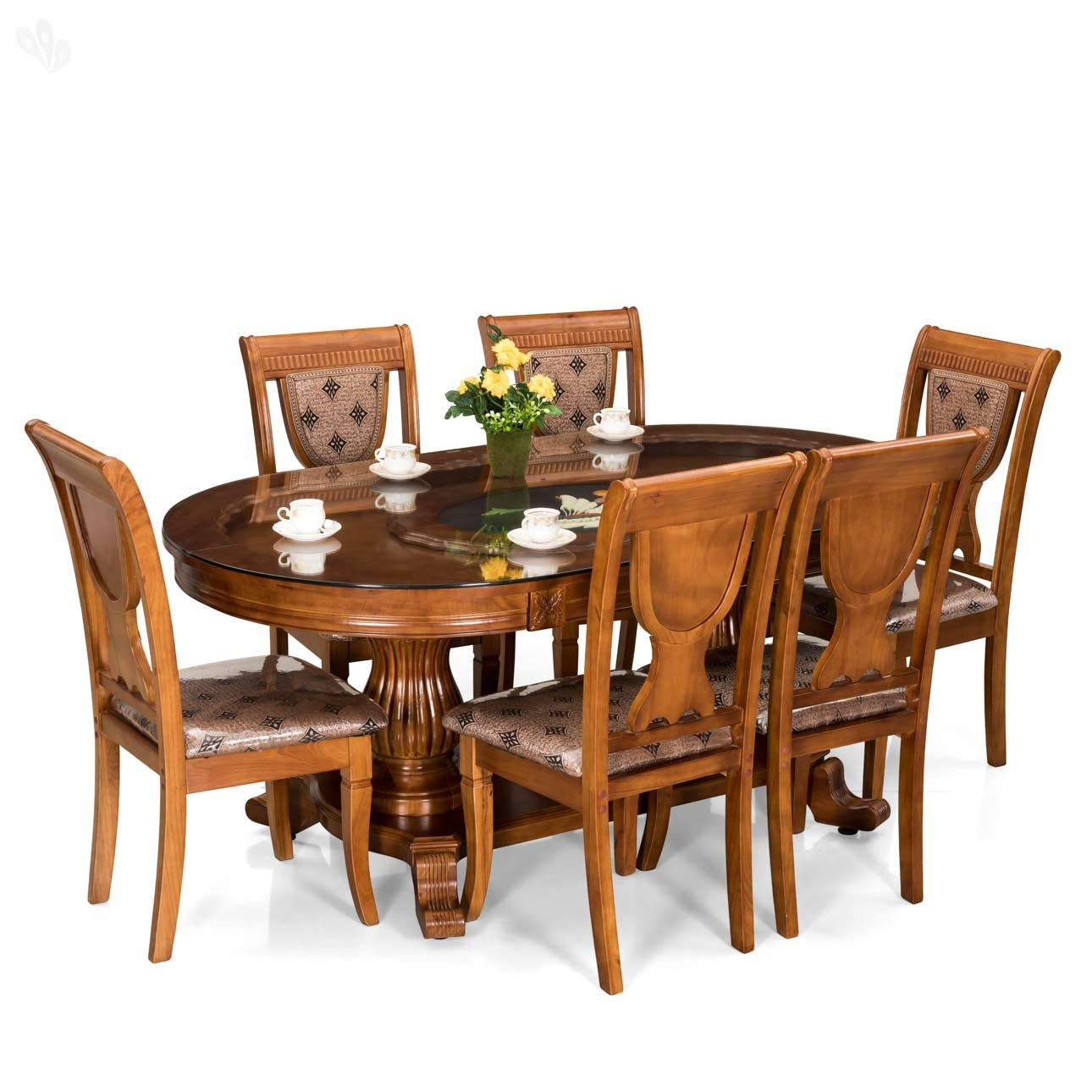 Royal Oak Titan Dining Set With Six Chairs Brown Amazon In Home Kitchen