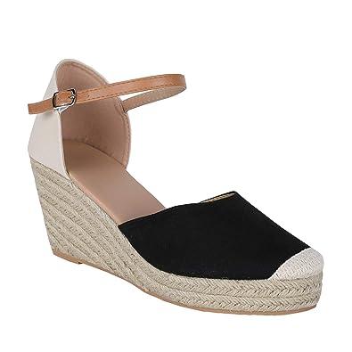 28cacc38f9a Huiyuzhi Womens Wedge Sandals Ankle Strap Cap Toe Espadrille Wedge Sandal  Black 5 B(M