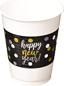 Amscan Happy New Year's Plastic Cups - 16 ounces and 25 per package