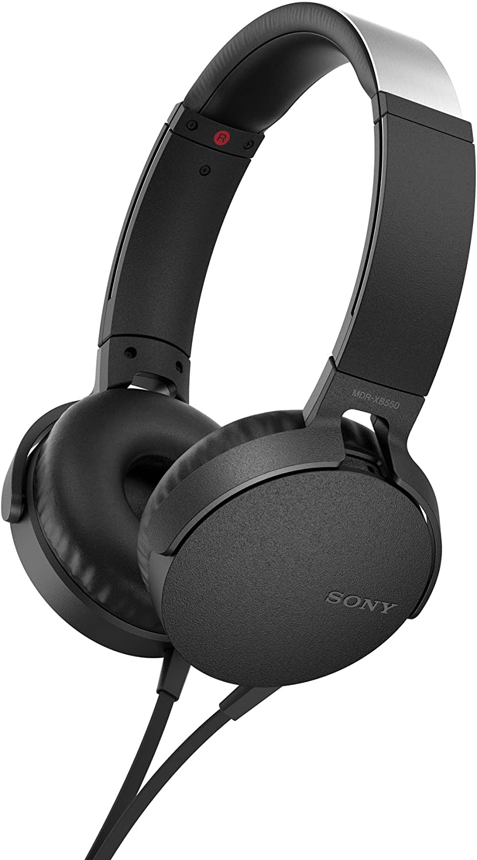 Sony MDR-XB550AP, Auriculares de Diadema Extra Bass (micrófono Integrado Compatible con Smartphones, Diadema Metálica Adaptable), Alámbrico, Talla Única, Negro