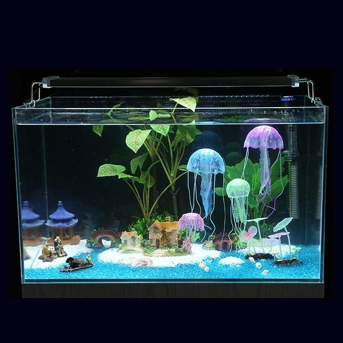 Bobury Efecto Brillante Acuario de Pescado de Medusas Artificiales Decoración de Acuario Mini Ornamento Submarino: Amazon.es: Hogar
