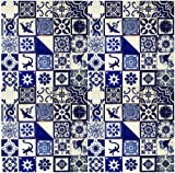 "25 Hand Painted Talavera Mexican Tiles 4""x4"" Blue & White"