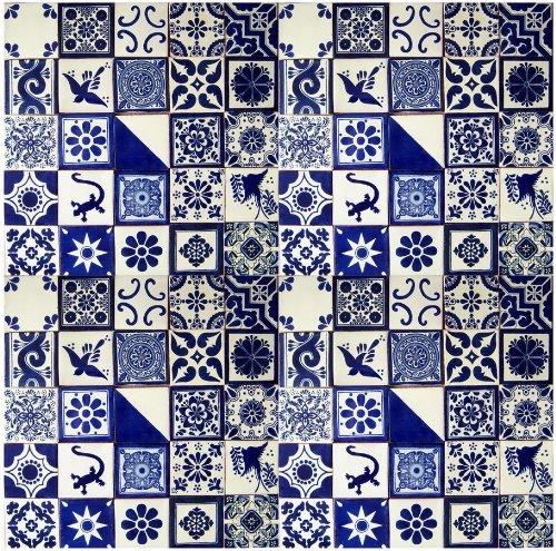 Color y Tradicion 25 Hand Painted Talavera Mexican Tiles 4''x4'' Blue & White