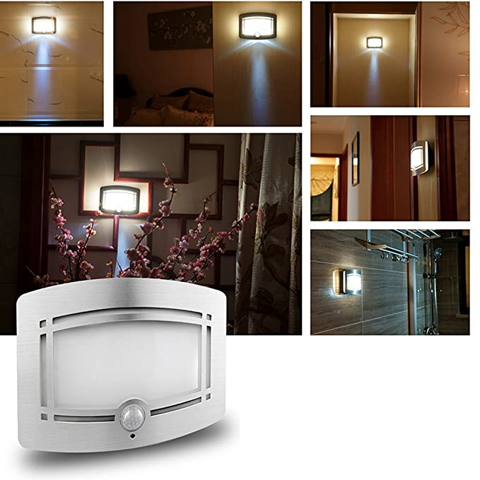 Bibaduo Aplique LED, Detector de Movimiento de luz Interior Aplique inalámbrico Aplique Mural de Pared con batería Aplique de Pared para baño, ...