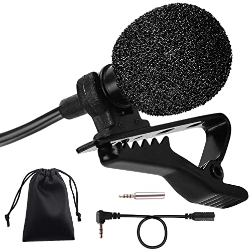Clip On Microphone,PEMOTech 3.5mm Lavalier Lapel Omnidirectional Condenser Mic Microphone with 2 Adapters Compatible for iPhone and Android Smartphone Tablets PC Line-in Recorder Camera