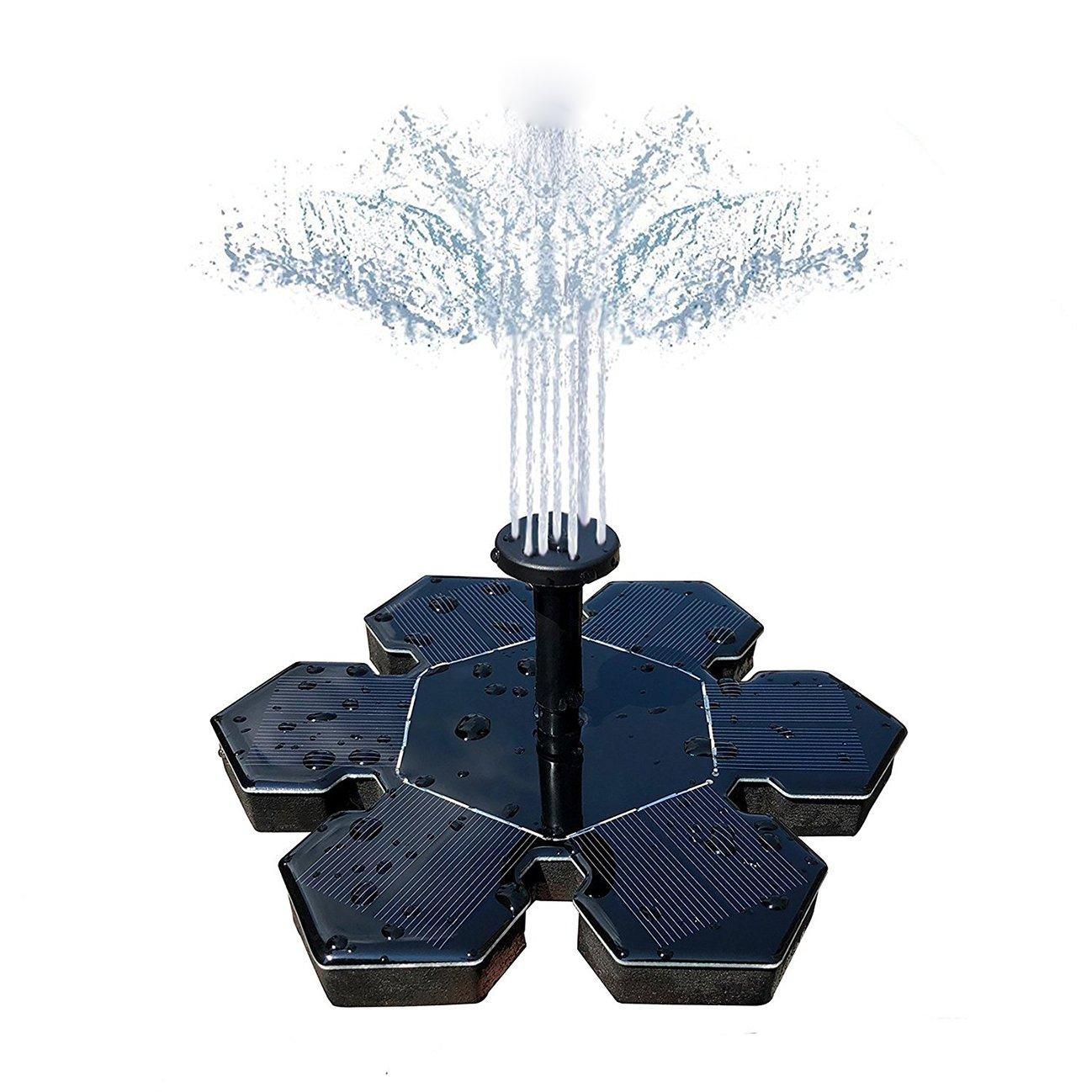 ThreeCat Solar Fountain, Solar Water Feature with 1.4 W Floating Solar Water Pump Fountain Pump for Garden Ponds, Fish Tanks, Bird Bath and Pond, Aquarium, Garden, Decoration(No batteries)