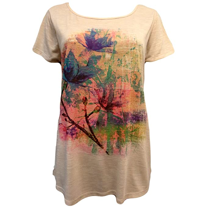 Mujer Peach Rosa Tropical Flores Loose Fit Largo T- Camisa Superior