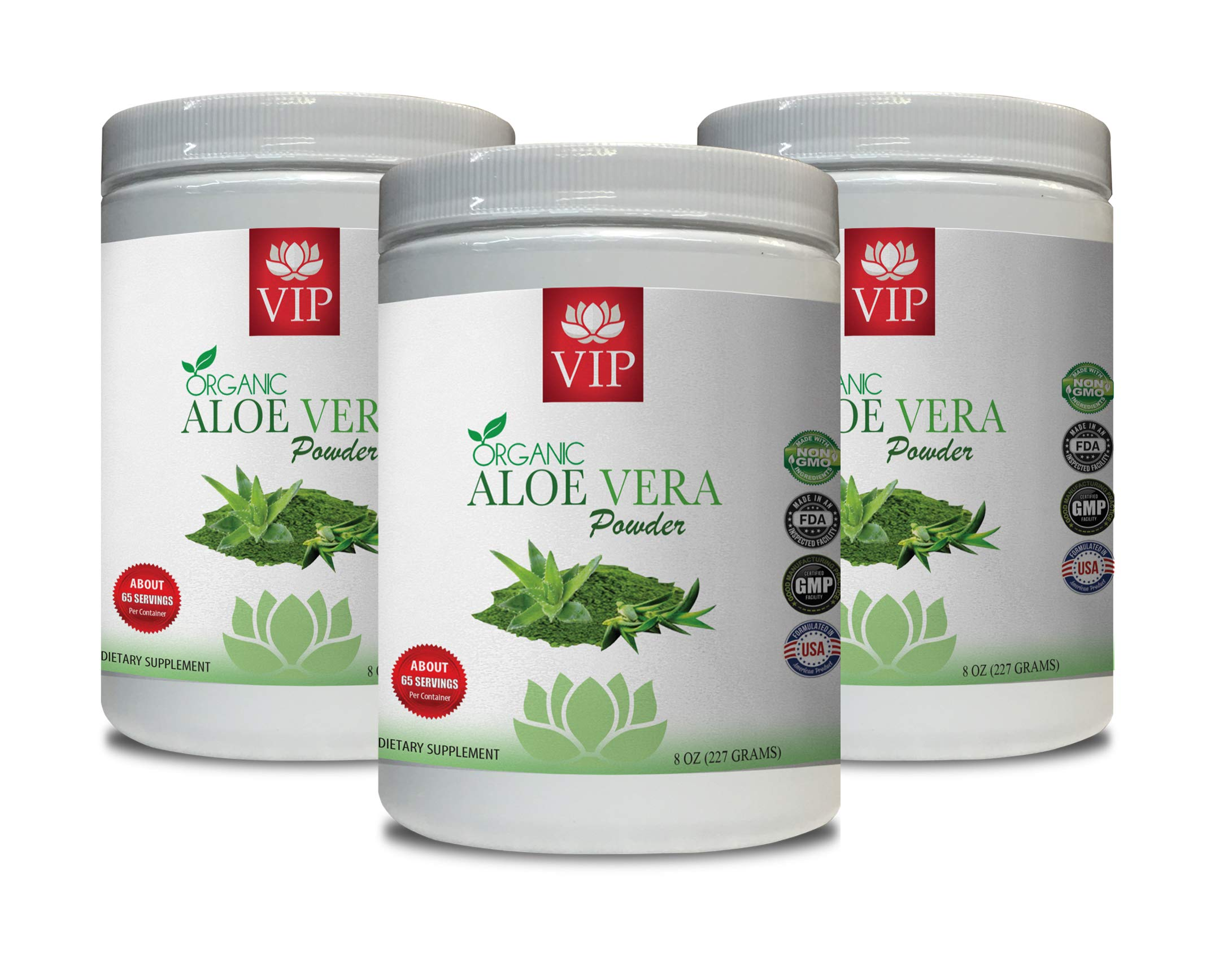antioxidant Supplement Organic - Aloe Vera Organic Powder - Aloe Vera Bulk Supplements - 3 Cans 24 OZ (195 Servings)