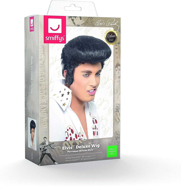 Elvis Deluxe Wig BLACK Costume Accessories Fancy Dress