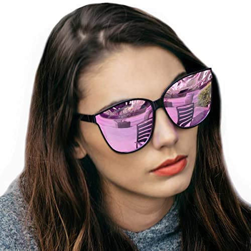 a53366d3182 Amazon.com  LVIOE Cat Eyes Mirrored Sunglasses for Women
