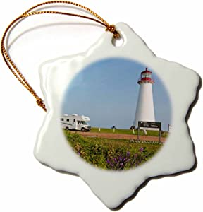 3dRose Prince Edward Island. Point Prim Lighthouse.-CN09 Mde0033 - Michael Defreitas - Snowflake Ornament, Porcelain, 3-Inch (ORN_72957_1)