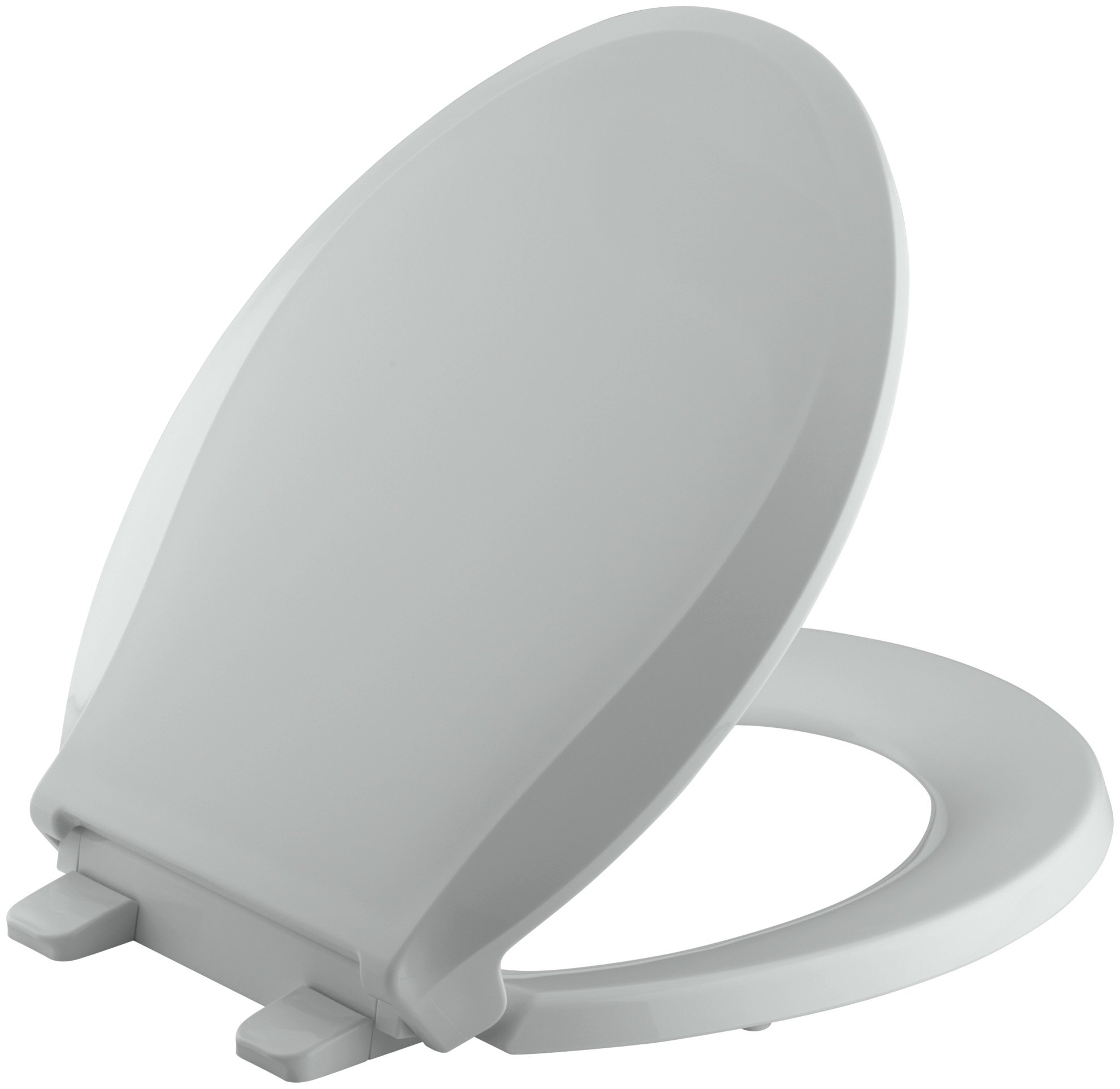 KOHLER K-4639-95 Cachet Quiet-Close with Grip-Tight Bumpers Round-front Toilet Seat, Ice Grey