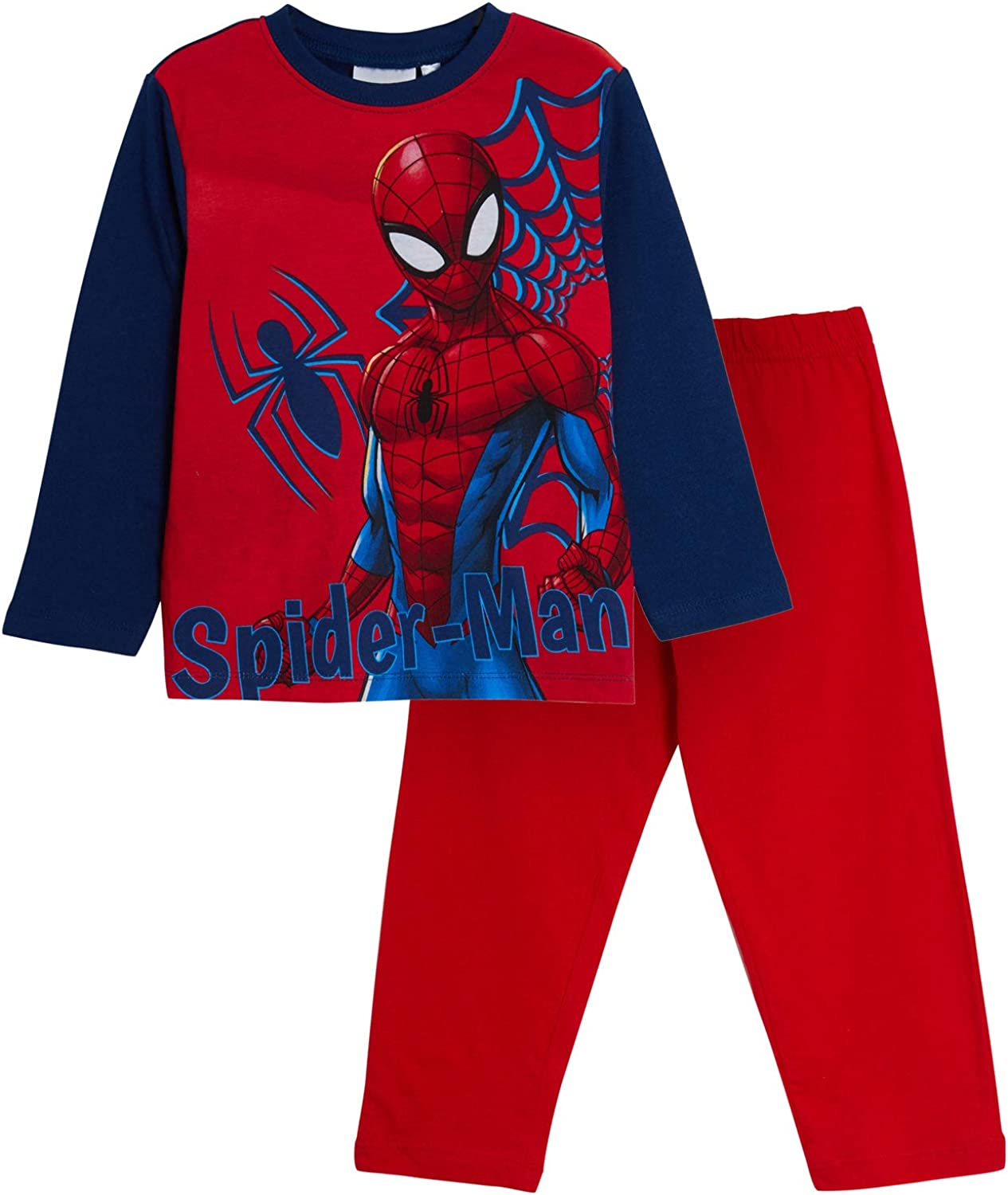 Marvel Spiderman Pigiama Bambino Avengers Full Length Pjs Super Hero Nightwear