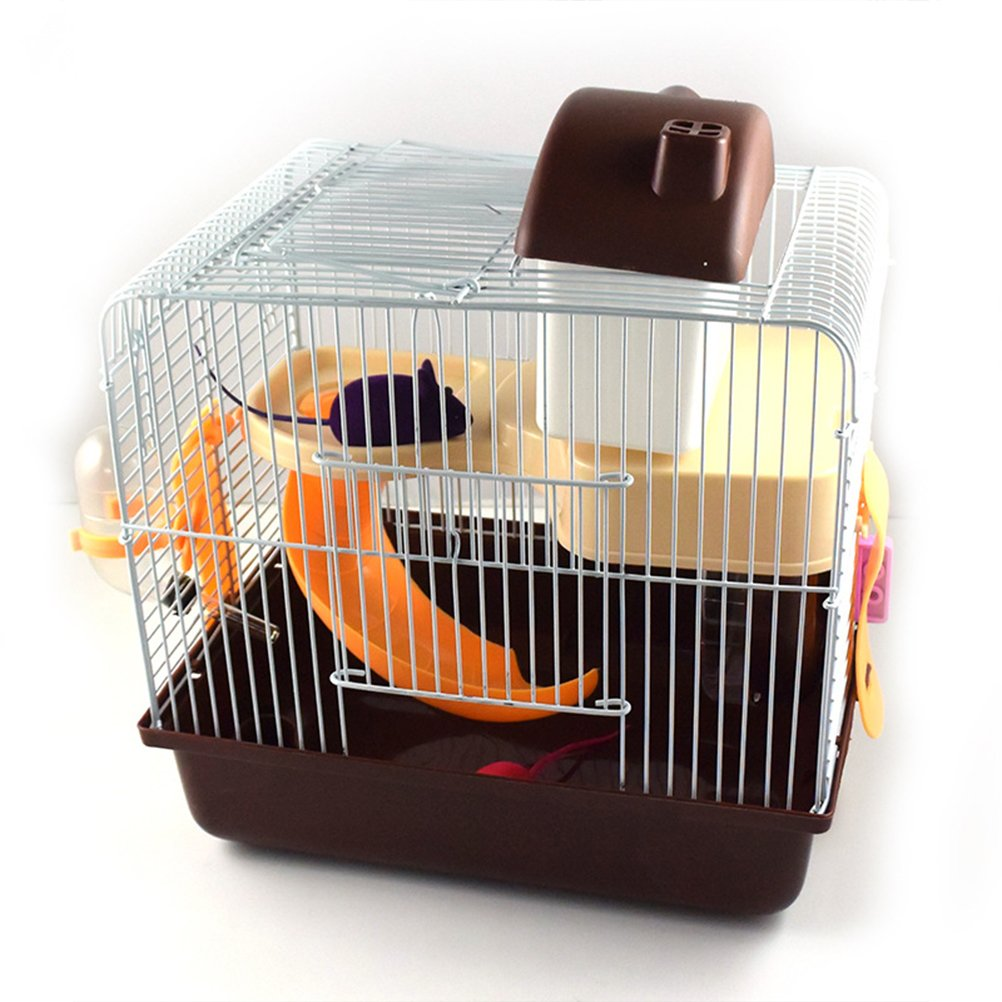 Coffee Zhhmeiruian Hamster 2-Story Durable Cage 10.359.887.51  Pink bluee Coffee