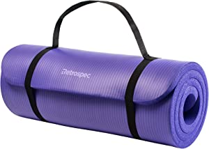 "Retrospec Solana Yoga Mat 1/2"" & 1"" Thick w/ Nylon Strap for Men & Women - Non Slip Excercise Mat for Yoga, Pilates, Stretching, Floor & Fitness Workouts"