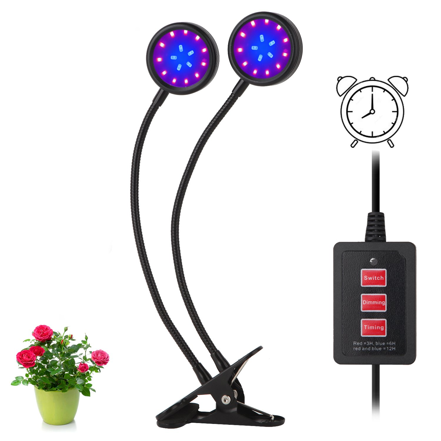 Latest Timing Function Auto Off Grow light 36LED 3 Working Modes 5 Dimmable Levels Spectrum for Indoor Plants with 360 Degree Adjustable Plant light Grow lights for indoor plants (16W Timing Function)