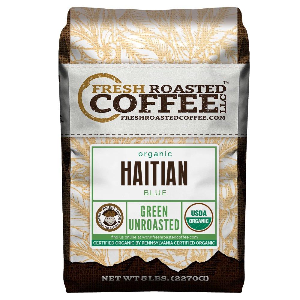 Fresh Roasted Coffee LLC, Green Unroasted Haitian Blue Coffee Beans, USDA Organic, Direct Trade, 5 Pound Bag by FRESH ROASTED COFFEE LLC FRESHROASTEDCOFFEE.COM
