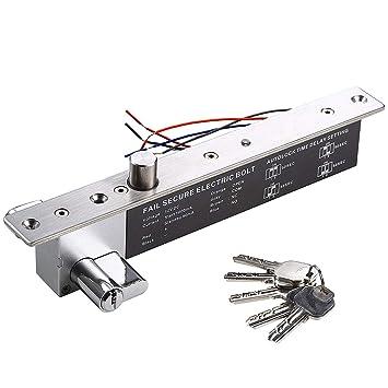 UHPPOTE DC12V Elektrische Drop Bolt Lock Schl/üssel /Öffnen Sie Fail Secure NO W//Cylinder Zeitverz/ögerung