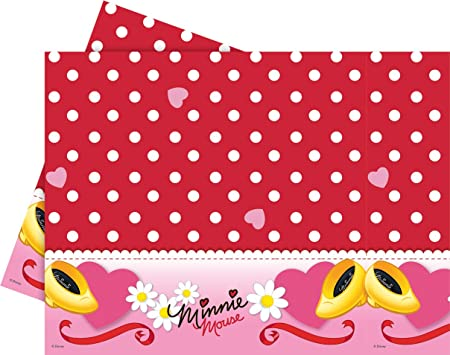 Amscan - Minnie Mouse de plástico rojo Partido Mantel ...