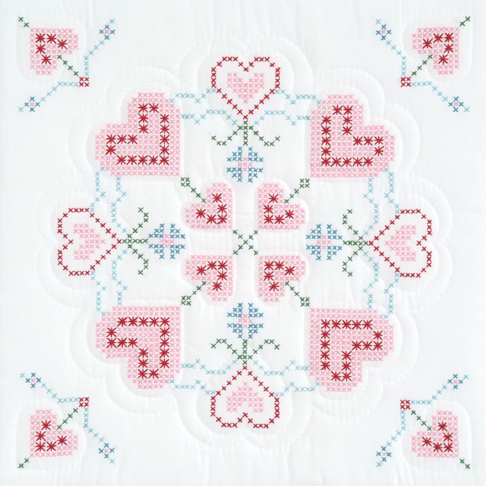 Fluttering Butterflies 35-Inch by 35-Inch Jack Dempsey Stamped White Perle Edge Table Topper