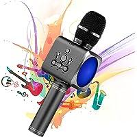 Microphone Sans Fil Karaoké Portable Bluetooth avec 2 Haut-Parleur Bluetooth Intégré,4 en 1 Pour Android & iOS,Karaoké Pour Chanter à La Maison, KTV, Anniversaire de Fête, Enregistrement(Gris foncé)