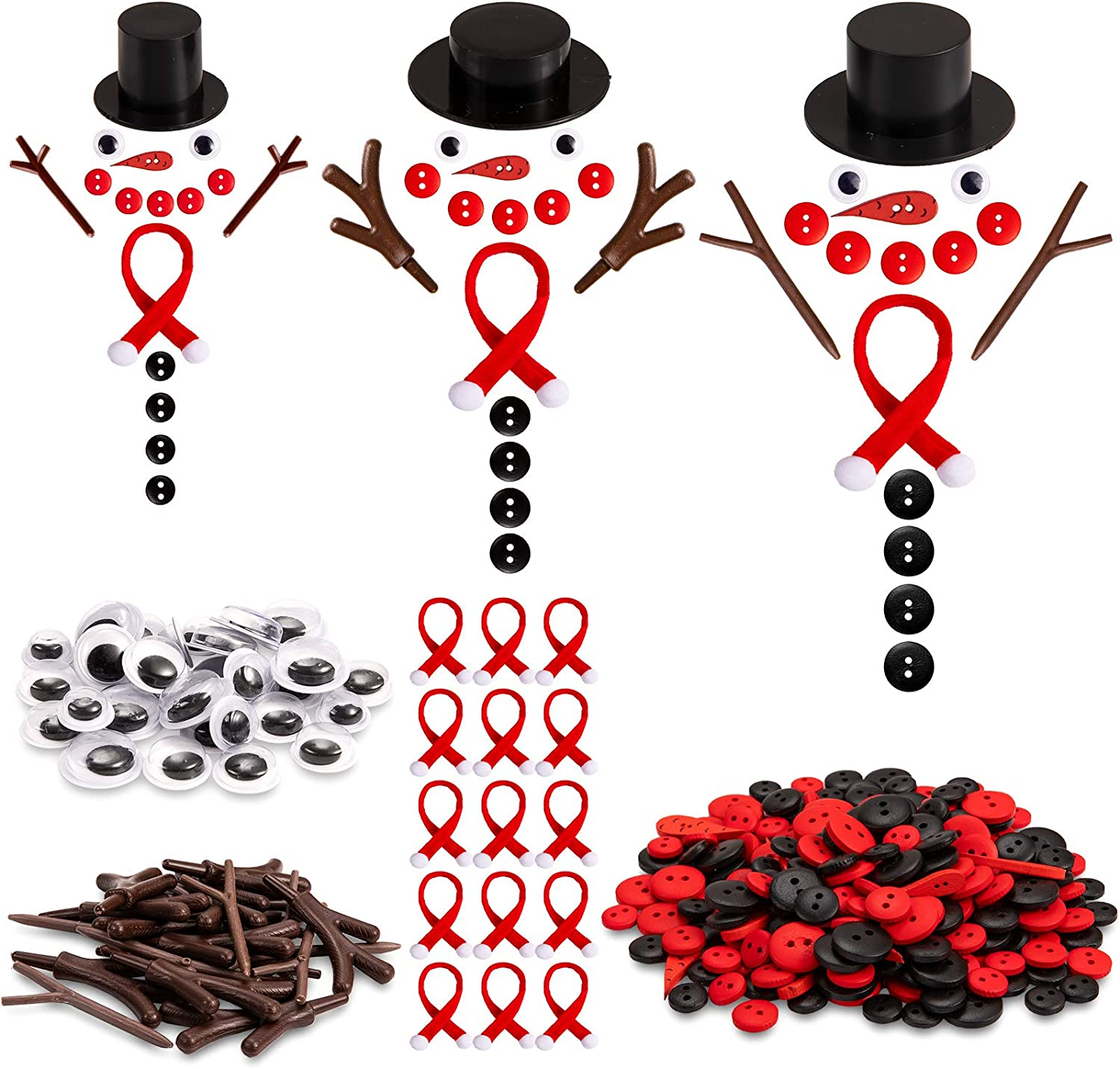 Whaline 345pcs Christmas DIY Snowman Ornament Button Craft Ornament Mini Kit with Plastic Hat Plastic Branches Hands Black Wooden Button Red Button Carrot Nose Plastic Eyes Scarves Xmas Party Decor
