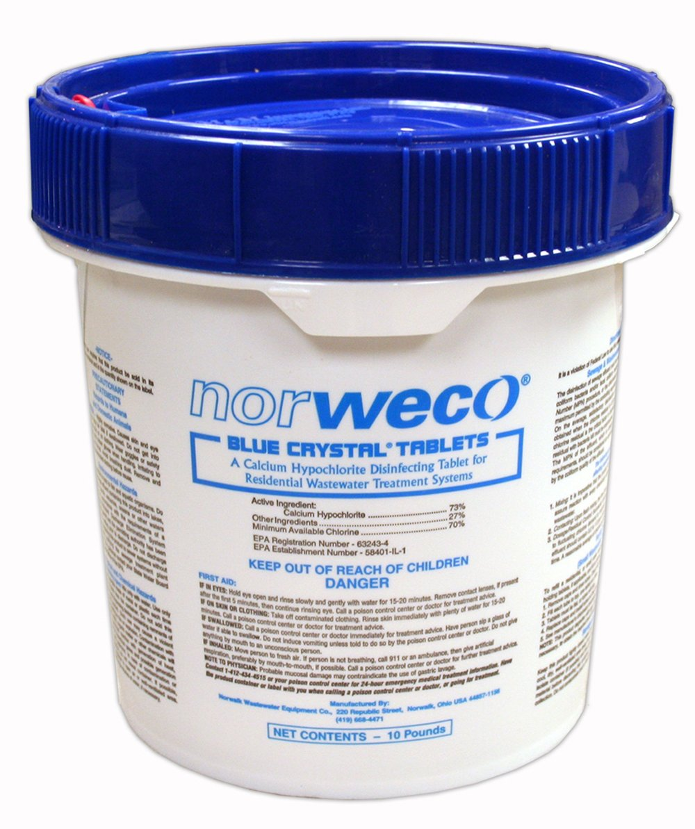 Norweco Blue Crystal Residential Disinfecting Tablets 10lb - Septic Tank Chlorine Tablets by Norweco