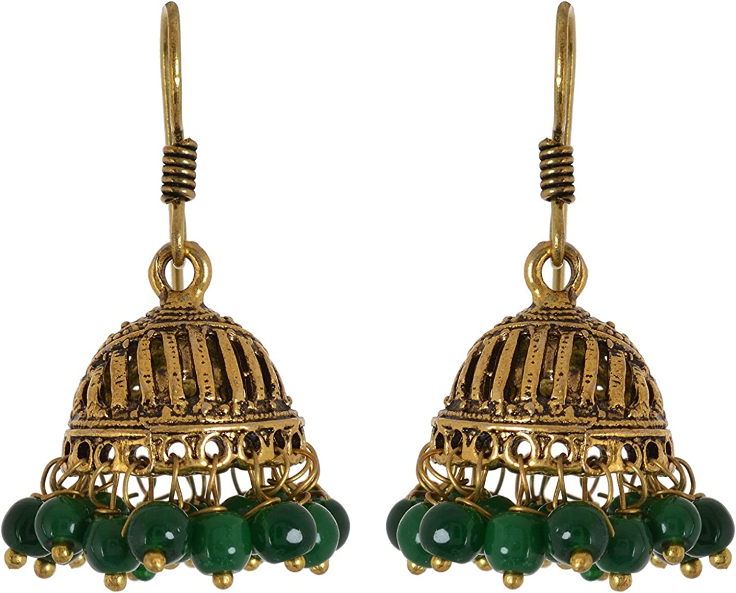 Subharpit Ethnic White Gold Plated Jhumki Indian Earrings Jewelry for Girls and Women