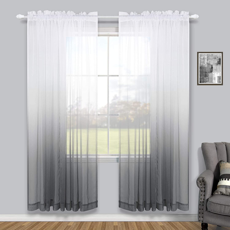 Tulle Panel Curtain Sheer Long Modern Elegant Windows Curtains Living Room White