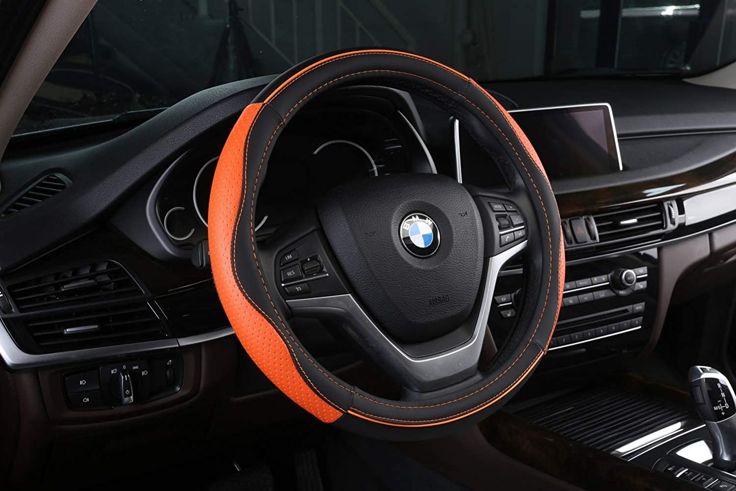 ZJWZ Steering Wheel Cover Leather, Leather Car Steering Wheel Cover, Four Seasons Universal, Sporty Curve, Durable, Thick, Non-Slip, Suitable for 38 cm / 15 ...