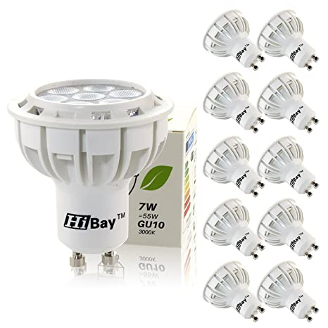 Hibay 10 Packs GU10 7 W LED luz bombillas Undimmable, equivalente a 50 W bombillas