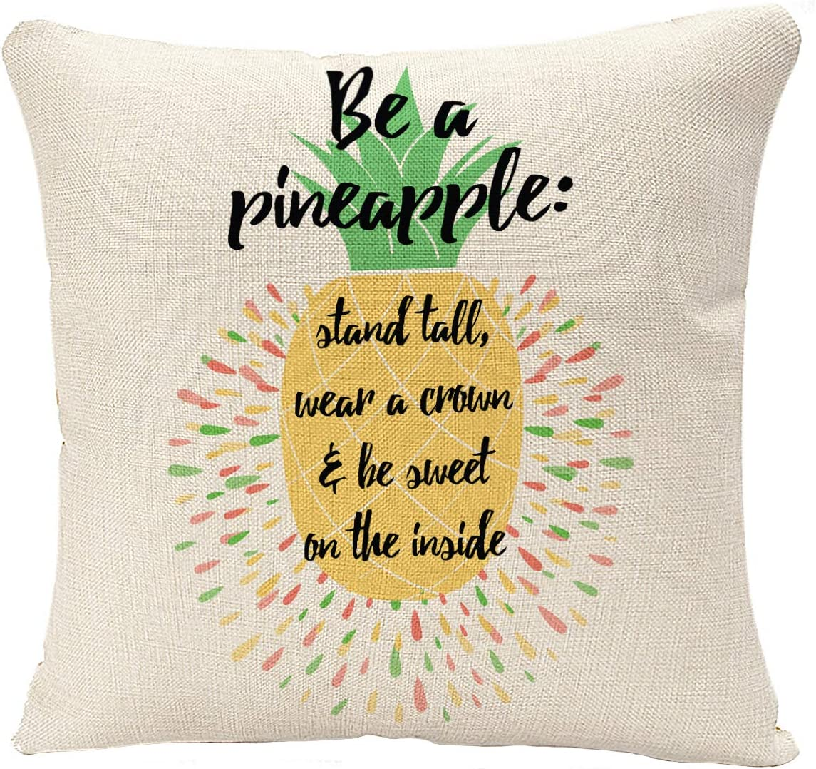 YGGQF Throw Pillow Cover Yellow Quote Motivational with Pineapple Summer Fresh Design Juicy and Sweet in Bright Color Fruit Food Decorative Pillow Case for Couch Sofa Bed Chair 18x18 Inch