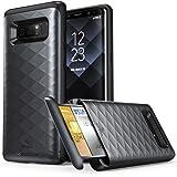 Samsung Galaxy Note 8 Hülle, Clayco [Argos Serie] Hybrid Schutzhülle Kratzfest Handyhülle Slim Case Cover mit eingebautem Kartenfach (Schwarz)