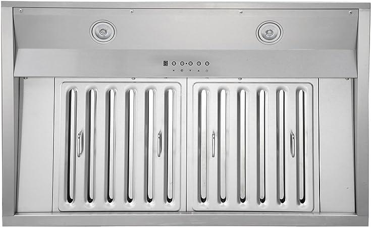 1100 CFM LED Lights 6-Speed KOBE IN2648SQB-1100-5A Deluxe 48 Built-In// Insert Range Hood Baffle Filters