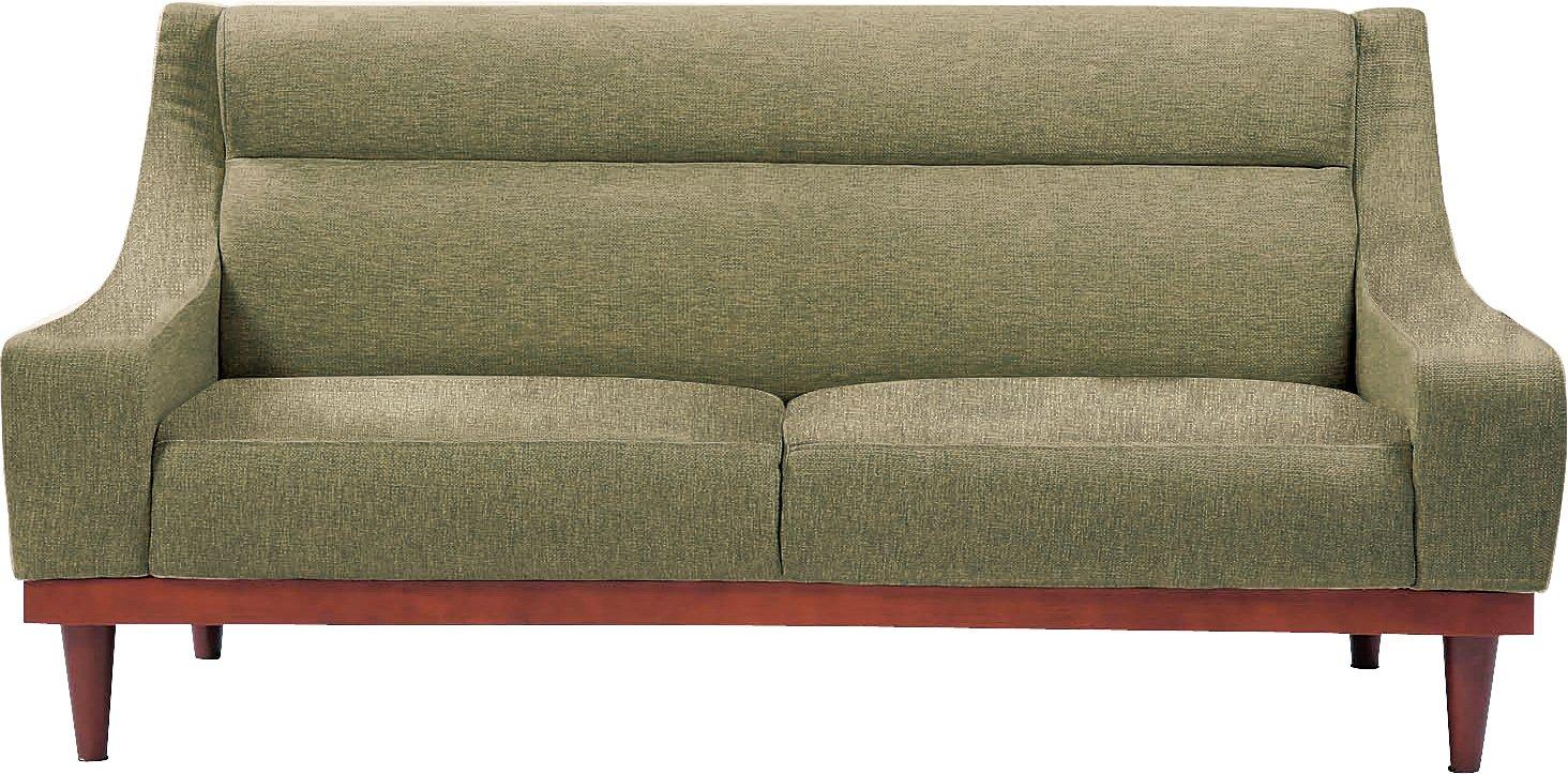 AZUMAYA 3人掛けソファ ラッセル (幅160cm 布タイプ) グリーン色 GS-547GR B001N60F0U グリーン