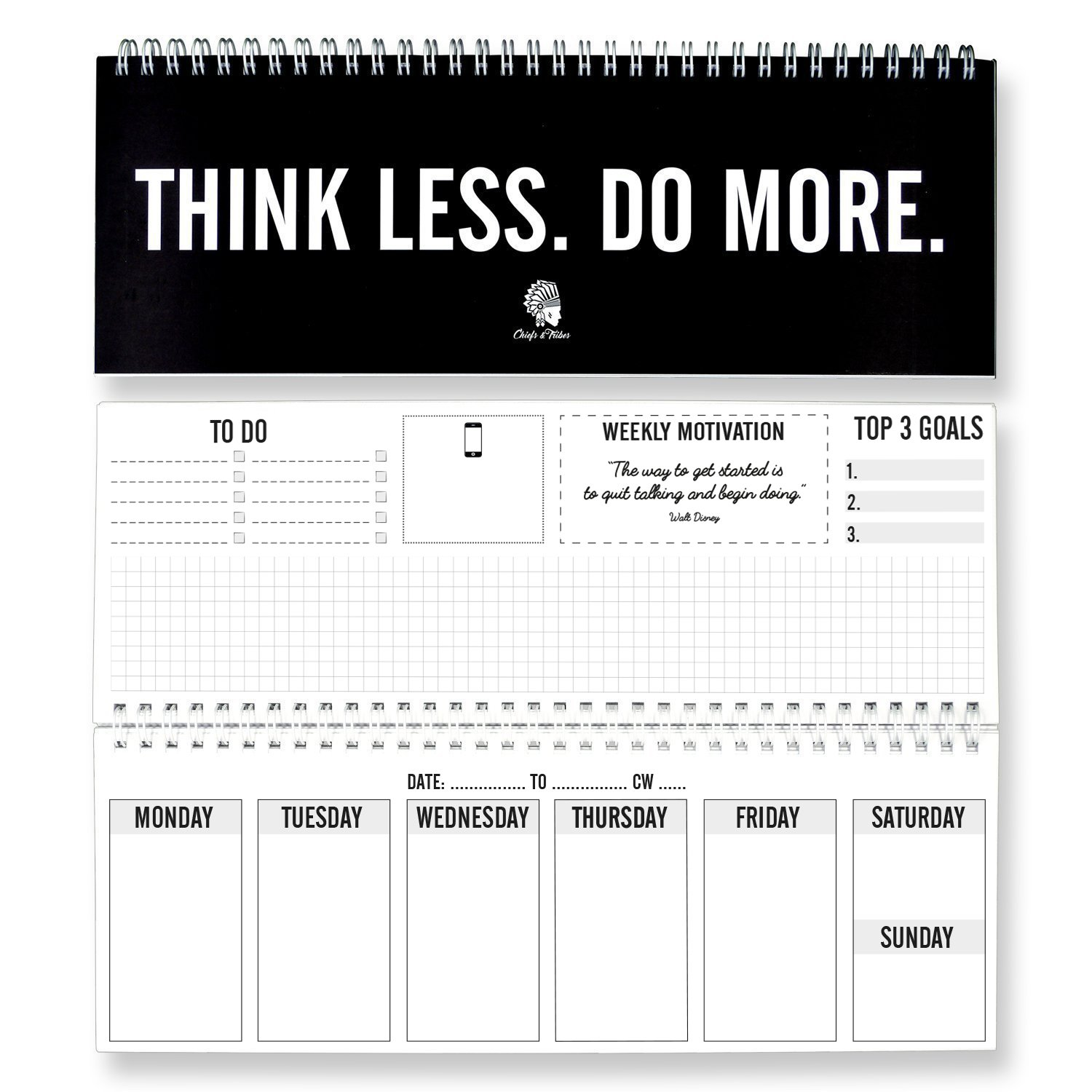 Chiefs & Tribes Weekly Desk Pad Calendar I to Do Notepad I Daily Desktop Planner I Undated Organizer for One Year I Schedule I Made in Germany
