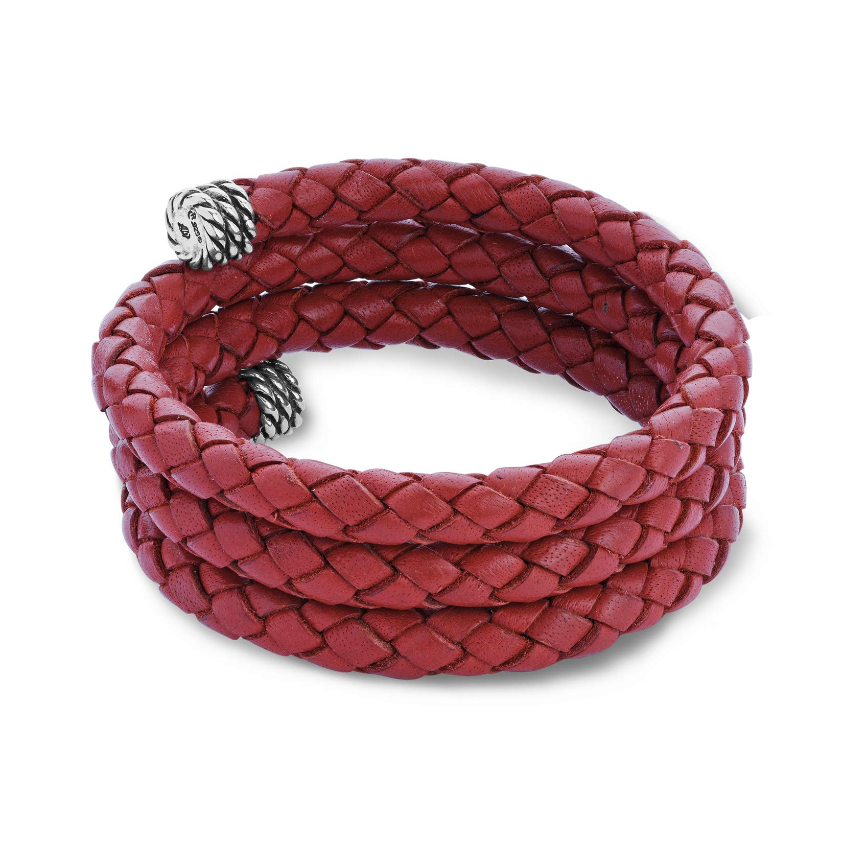 American West Jewelry Sterling Silver Red Braided Leather Wrap Bracelet
